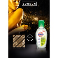 "Gefühlsechte 100er-Kondome ""London"", gold, plus Sagrotan-Gel"