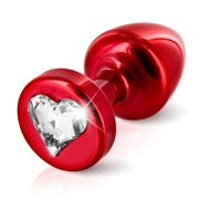 "Analplug ""R Heart red T1"" aus Aluminium, mit Swarovski-Element"